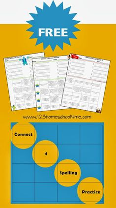 FREE Spelling Worksheets - Connect 4 Spelling Practice with 32 hands on ways for homeschool kids to practice their #spelling words.