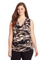 Calvin Klein Womens Plus-Size Print Cowl Neck Top