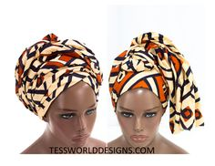 Kuba Head wrap, Orange / Head wrap Scarf / Headwrap / Head wrap Women / Head…