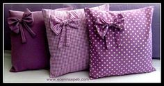 Bow Pillows / In shades of purple. Bow Pillows, Cute Pillows, Sewing Pillows, Sewing Crafts, Sewing Projects, Diy And Crafts, Arts And Crafts, Creation Couture, How To Make Pillows