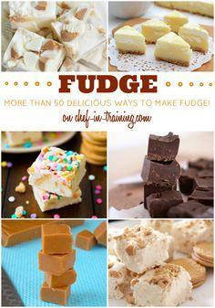 Over 50 DELICIOUS Fudge recipes just in time for the holidays! Delicious Fudge Recipe, Best Fudge Recipe, Fudge Recipes, Candy Recipes, Sweet Recipes, Delicious Desserts, Dessert Recipes, See's Candy Fudge Recipe, Xmas Recipes