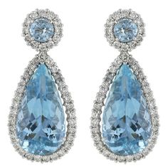 22 Carats Aquamarines Diamond Platinum Drop Earrings | Saved for Future Outfits in Gabrielle's Amazing Fantasy Closet