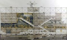 Renzo Piano, Richard Rogers. Centre Pompidou, facade elevation [competition entry 1971]