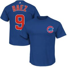 New Chicago Cubs Mens #9 Javier Baez Blue Majestic Royal Official Name and Number T-Shirt