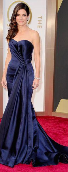Sandra Bullock wearing McQueen & Lorraine Schwartz jewelry #Oscars #2014