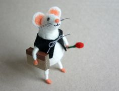 Felt mouse with a book White felted mouse Mice by HappyMouses