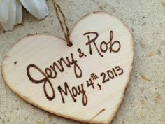Valentine's Day Wood Heart Ornament or Gift Tag for Bridal Shower Gift or Engagement Christmas Ornament with Names and Wedding Date | PrinceWhitaker - Seasonal on ArtFire