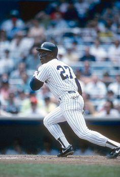 Mel Hall of the New York Yankees bats during an Major League Baseball game circa 1990 at Yankee Stadium in the Bronx borough of New York City Hall...