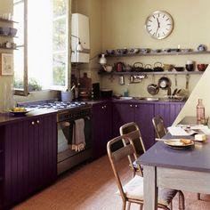 Purple cabinets.