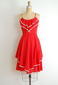 "{ Cherry Ribbons Dress, ""Adorable vintage 1970s red summer sundress with adorable white pipe trim on ruffled bib and tiered skirt. Waist is loose (pinned to fit) but would look darling belted."" from ADOREVINTAGE [$54.40] }"