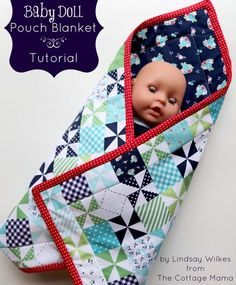 Baby Doll Pouch Blanket Tutorial and FREE Pattern from The Cottage Mama. www.thecottagemama.com