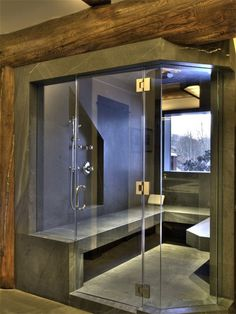 (Would like a steam room in pool house, if we have a pool house.) Steam shower (instead of just a shower). Turn your shower into a steam room as well. Perfect for the Master Bathroom. Saunas, Sauna Steam Room, Sauna Room, Dream Bathrooms, Beautiful Bathrooms, Bathroom Spa, Master Bathroom, Master Shower, Bathroom Renovations