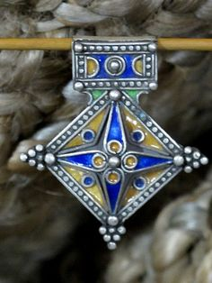 * * Handcrafted in Morocco...Gorgeous Southern Cross Pendant in Enameled High-Grade Silver. Made in the high Atlas mountains in the Moroccan region near Algeria