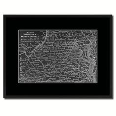 Virginia West Virginia Vintage Monochrome Map Canvas Print, Gifts Picture Frames Home Decor Wall Art