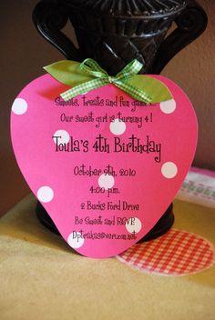 cute invitation for Strawberry Shortcake party 4th Birthday Parties, Birthday Fun, Birthday Ideas, Birthday Banners, Birthday Quotes, Birthday Gifts, Birthday Cake, Strawberry Shortcake Birthday, Party Invitations