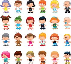 Illustration of Boys and girls, vector and cartoon characters vector art, clipart and stock vectors.