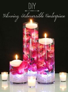 DIY Glowing Submersible Centerpiece. Light up your wedding with glowing submersible centerpieces. Submerge faux orchids in water, and add a floating candle and submersible light for a romantic DIY centerpiece. Find everything you need at Afloral.com. #floatingcandles