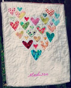 Adorable Baby Clothes Heart Memory Quilt - Made to order - with Child's Name!