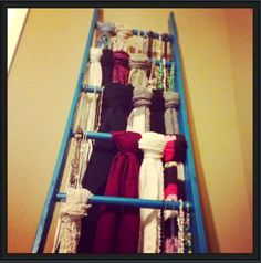 Spray paint an old ladder. Hang scarves, necklaces, and other accessories for convenient  and tasteful storage.