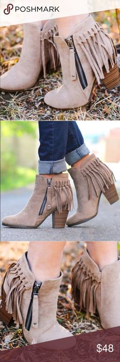 """Hello Fall Bootie - BEIGE Super comfy and chic faux suede  bootie. Fits TRUE TO SIZE. Faux suede with fringe behind heel. Working side zipper.   ~Material: Faux Suede (man-made) ~Sole: Synthetic Measurement Heel Height: 3"""" (approx) Bellanblue Shoes Ankle Boots & Booties"""