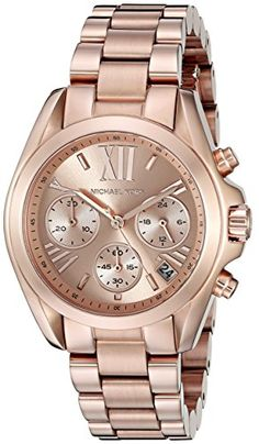 MICHAEL KORS Mini Bradshaw Womens Quartz Watch with Pink Dial and Rose Gold…