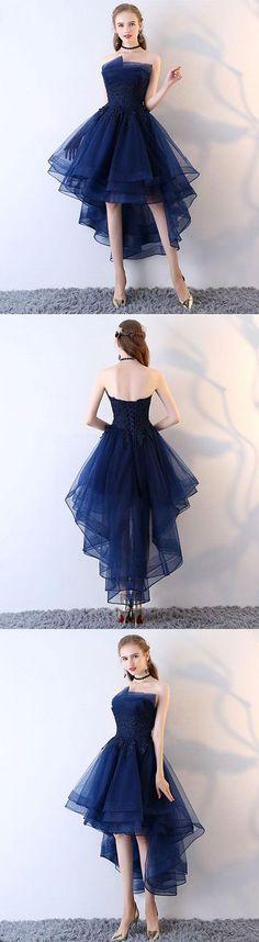 Dark blue tulle short prom dress, high low evening dress, blue tulle short homecoming dress #homecomingdresses #shortdresses #homecomingdressesshort