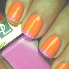 orange nails + pink tips.