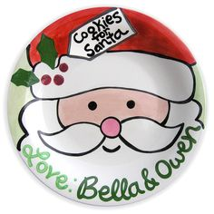 Cookies for Santa Plate Kids Personalized by LittleWormAndCompany