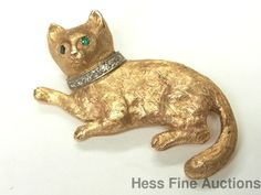 Monet Heavy Vintage 14k Gold Diamond Fine Natural Emerald Cat Pin | eBay