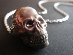 Detailed Skull Bead Raku Pottery Goth Gothic Dark by CassieVision