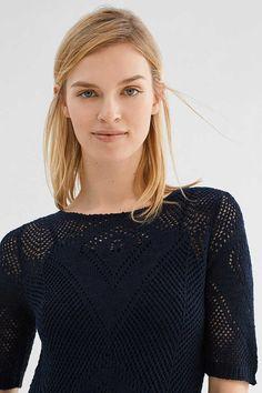 Esprit / Aansluitende maxi-jurk met ajourpatroon