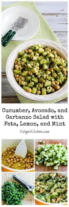 Cucumber, Avocado, and Garbanzo Salad with Feta, Lemon, and Mint