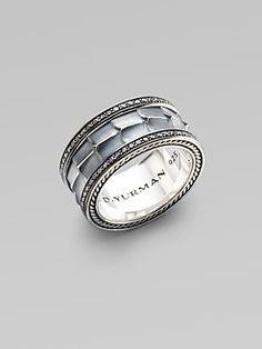 David Yurman - Mens Pave Silver Band Ring