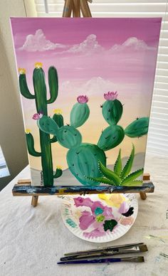 Cactus Painting, Diy Art Painting, Small Canvas Art, Flower Art Painting, Simple Canvas Paintings, Amazing Art Painting, Flower Painting Canvas, Diy Canvas Art Painting, Cute Canvas Paintings