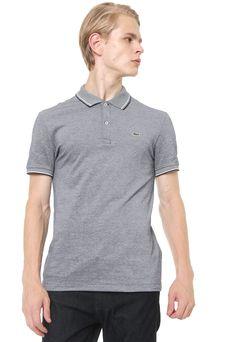 cebdf9a51c4 Camisa Polo Lacoste Slim Padronagem Azul-marinho