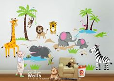 Safari Jungle Animals HUGE Wall Decal Set Monkey by smileywalls, $199.00