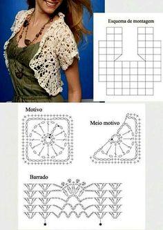 crochet bolero tutorial ideas 9 Crochet Bolero Pattern, Crochet Motifs, Crochet Circles, Crochet Jacket, Crochet Diagram, Crochet Blouse, Crochet Shawl, Crochet Stitches, Knit Crochet