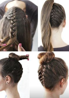 Top 7 Most Beautiful Braid Styles Braid hair can be made in different styles .SO here are some beautiful braid styles to copy right now. Reverse French Braids, Upside Down French Braid, French Braid Buns, Easy Hairstyles For Long Hair, Everyday Hairstyles, Braided Hairstyles, Black Hairstyles, Wedding Hairstyles, Amazing Hairstyles