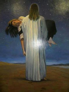He will carry you. Pictures Of Christ, Church Pictures, Jesus Wallpaper, Images Wallpaper, Christian Paintings, Christian Art, Catholic Art, Religious Art, Dark Souls Art