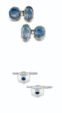 Pair of sapphire cufflinks, Suzanne Belperron, 1955-1970, pair of sapphire and moonstone shirt studs, and pair of cufflinks - Sotheby's