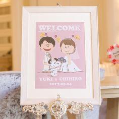 まずはご新婦さま手描きのイラストがかわいいアイテムをご紹介します。こちらは、おふたりとも1番好きなキャラクターに上げる「スヌーピー」タッチのイラストがかわいいウェルカムボード☆気になるプレ花嫁さまは、ご新婦さまが運営する「chic -チック-」というInstagramアカウントからチェックすることができます! Welcome Boards, Couple Illustration, Creative Photography, Wedding Couples, Snoopy, Weddings, Design, Instagram, Art