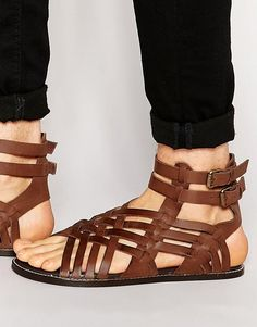 f41f30ed2b72 Image 1 of ASOS Gladiator  Sandals in Brown Leather Gladiator Sandals For  Men
