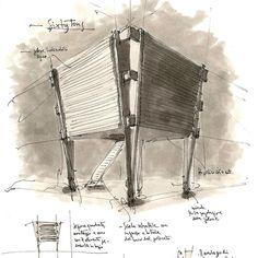 Sixty Tons - sketch, detail  Sixtytons è una preesistenza sugli scogli, un grande essiccatoio marino, una torre in legno di 60 tonnellate con due spazi interni diafani. Rinvenuta così, la torre diventa una grande villa sul mare, con lunghi brise-soleil che tagliano il paesaggio marino in senso orizzontale. All'interno, nello spessore degli impalcati, si trova quanto è necessario per rendere vivibile una casa sull'isola.