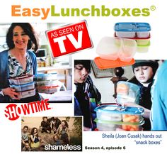 This time, Kelly Lester's popular lunch containers pop up in Joan Cusak (Sheila)'s kitchen on Showtime's SHAMELESS. Snack Box, Lunch Box, Box Lunches, Kids Lunch For School, Lunch Containers, Show And Tell, Bento, Kid Stuff, Snacks