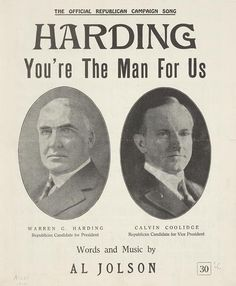 """When you think """"innovative presidents"""" Warren G. Harding probably doesn't spring to mind. But the underwhelming statesman inaugurated a ton of campaign techniques including the now-ubiquitous celebrity endorsement. Black Presidents, American Presidents, American History, Presidents Usa, Warren Harding, Warren G, Calvin Coolidge, New Freedom, Library Of Congress"""