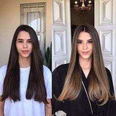 Brown Ombre Hair, Brown Hair Balayage, Brown Blonde Hair, Light Brown Hair, Hair Color Balayage, Balayage Straight Hair, Long Brunette Hair, Lightest Brown Hair Color, Straight Hair With Highlights