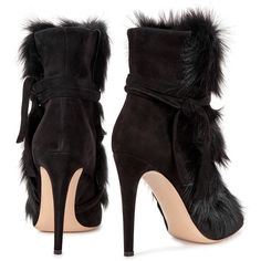Gianvito Rossi Moritz fur and suede ankle boots (22,195 EGP) ❤ liked on Polyvore featuring shoes, boots, ankle booties, ankle boots, high heel booties, short black boots, black bootie and black suede booties