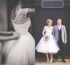 Vintage White/Ivory Dotted Short/Tea Length Formal Wedding Dress Bridal Gown
