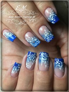 62 Ideas for hair blue ombre manicures Lace Nail Art, Lace Nails, Cool Nail Art, Nail Stamping Designs, New Nail Designs, Junk Nails, Different Nail Designs, Short Nails Art, Nail Patterns