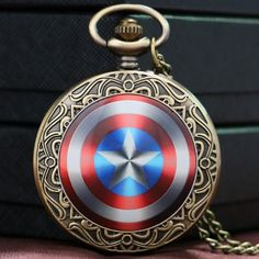 Captain America Shield Quartz Pocket Watch
